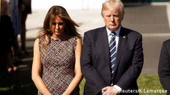 Donald and Melania Trump hold a minute's silence for the Las Vegas shooting victims