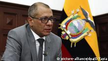 Der Vizepräsident Jorge Glas, fotografiert am 30.08.2017 in seinem Büro in Quito (Ecuador). Die Staatsanwaltschaft verdächtigt Glas, an einem Korruptionsnetz beteiligt gewesen zu sein, das dem brasilianischen Baukonzern Odebrecht Ausschreibungen zuspielte. Das Parlament hat seineImmunität aufgehoben. Trotz der Lage beteuert Glas seine Unschuld. «Ich werde sie beweisen», versicherte er der dpa. «Wir stehen vor einer durchdachten Attacke», behauptete der Politiker. Foto: Daniel Tapia/dpa   Verwendung weltweit