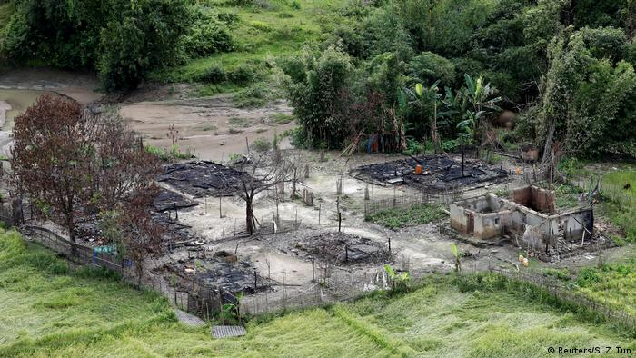 Charred remains of a Rohingya village that has been burned to the ground.