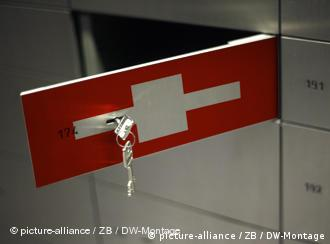 An opened bank lockbox with the Swiss flag superimposed on it