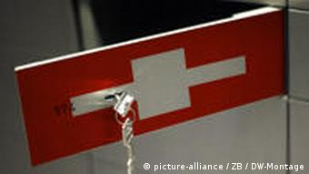 safe deposit box painted in colours of the Swiss flag, with key inserted in an open door