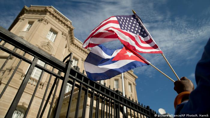 The American and Cuban flags outside the Cuban embassy in Washington