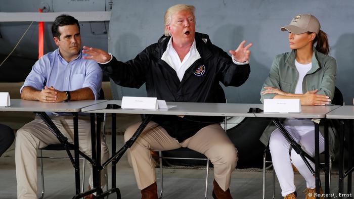 Donald Trump, Ricardo Rossello y Melania Trump.