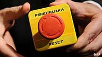 Mock 'reset' button that US Secretary of State Hillary Clinton handed over to Russian Foreign Minister Sergei Lavrov in Geneva in 2009