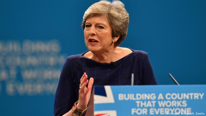 Prime Minister Theresa May at the Conservative Party Conference 2017.