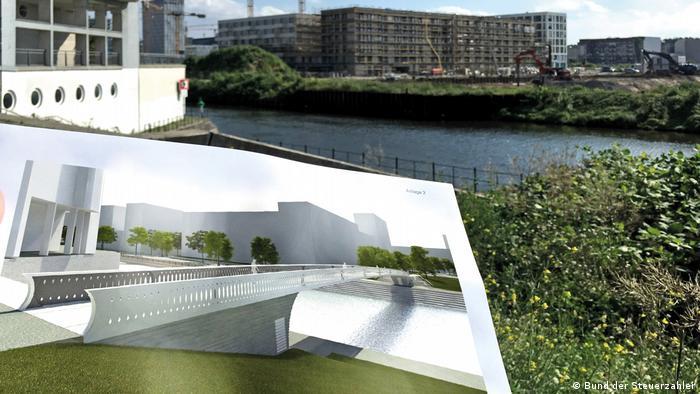 Ilustração mostra projeto de uma ponte sobre um canal em Berlim