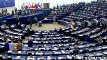General view of the hemicycle as members of the European Parliament, several who hold a Catalonia flag (L), debate the ongoing situation in Catalonia, three days after the banned referendum on a split from Spain, in Strasbourg, France, October 4, 2017. Still picture taken from video. REUTERS/Reuters TV