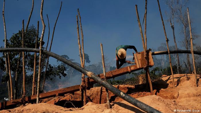 An illegal gold mine in the Brazilian Amazon rainforest