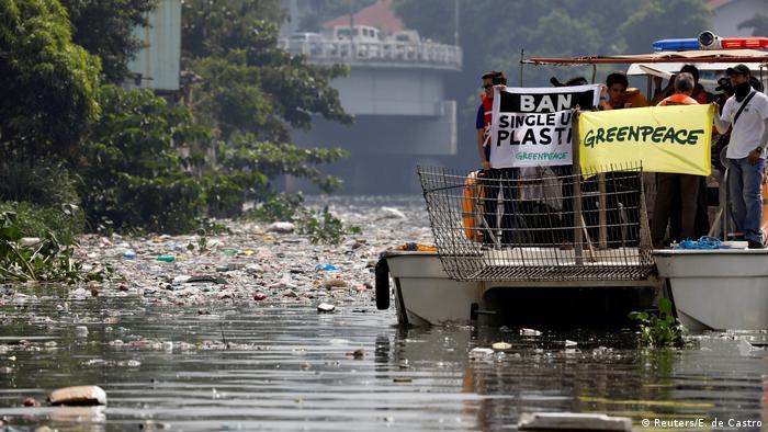 Polución con plástico en Filipinas.