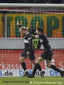 Friedrich and Voroning celebrating another goal
