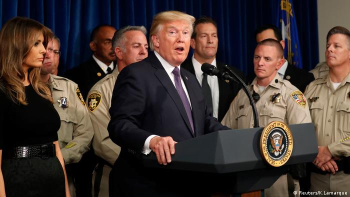 Donald Trump giving a speech with police behind him in Las Vegas, Nevada
