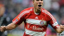 Munich's Lukas Podolski celebrates after he scored, during the German first division Bundesliga soccer match between FC Bayern Munich and Hanover 96 in Munich, southern Germany, Saturday, March 7, 2009. (AP Photo/Uwe Lein) **Eds note: German spelling of Hanover is Hannover, German spelling of Munich is Muenchen** NO MOBILE USE UNTIL 2 HOURS AFTER THE MATCH, WEBSITE USERS ARE OBLIGED TO COMPLY WITH DFL-RESTRICTIONS, SEE INSTRUCTIONS FOR DETAILS **