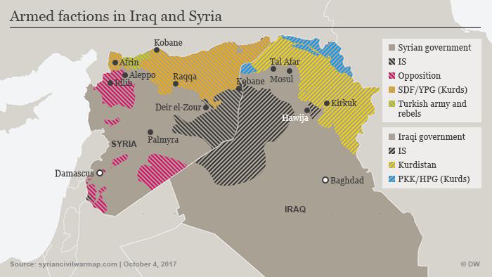 Infografik Karte Syrien Irak IS Oktober 2017 ENG
