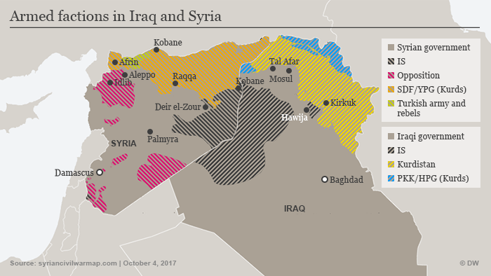 Map showing armed factions in Iraq and Syria