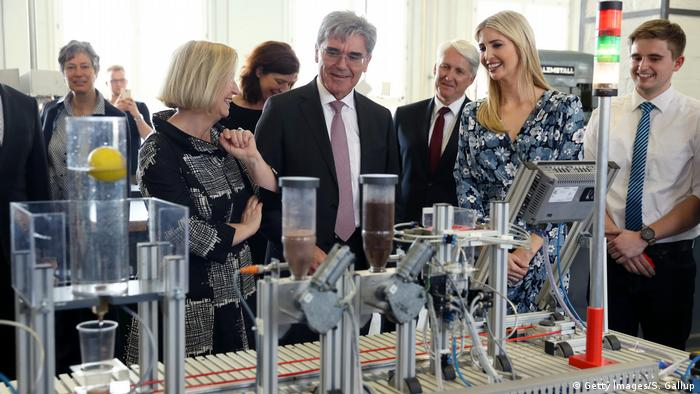 Ivanka Trump meets Siemens CEO Joe Kaeser and German Education Minister Johanna Wanka at a Siemens mechatronic factory in Berlin (Getty Images/S. Gallup)