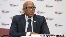 Frank Fredericks Monaco Monte Carlo November 26 2015 IAAF press conference PK Pressekonferenz after the IAAF Cou