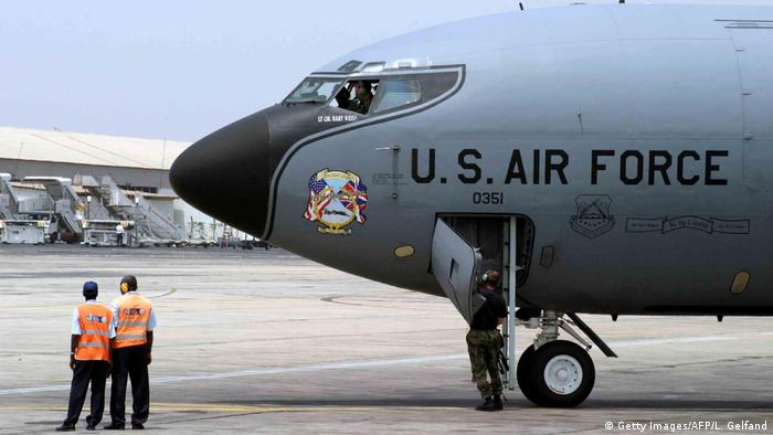 A US Air Force plane lands at a Senegal airport
