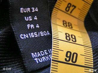 Kleidungsetikett mit unterschiedlichen Größenangaben je Land und Maßband, Quelle: DW