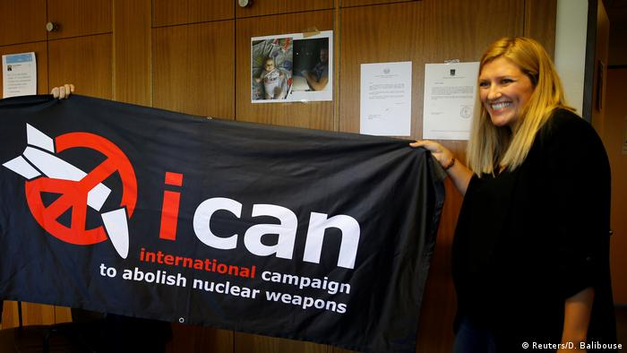 Beatrice Fihn, Executive Director of the International Campaign to Abolish Nuclear Weapons (ICAN) celebrates