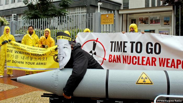 Nobel Peace Prize winners ICAN protest at a North Korean embassy