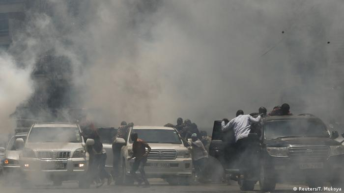 Cars surrounded by smoke in Nairobi