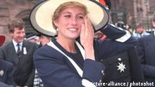 Liverpool Anglican Cathedral Caption: DIANA, PRINCESS OF WALES. Attending a service to commemorate the Battle of the Atlantic- at Liverpool Anglican Cathedral. Date: 30.05.1993 .