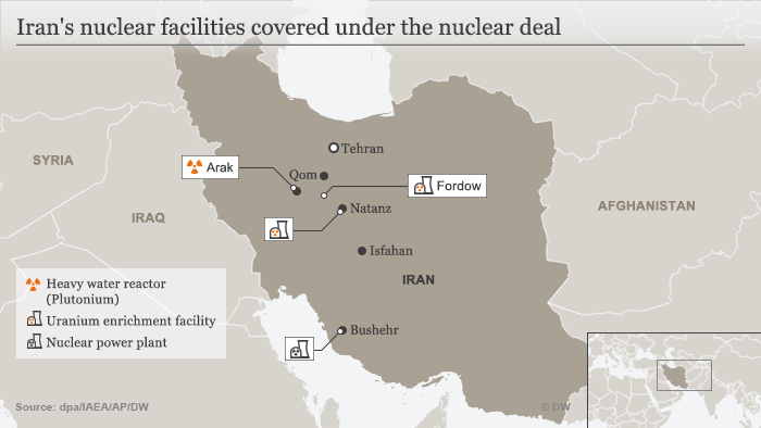 Map showing Iran's nuclear facilities covered under the nuclear deal