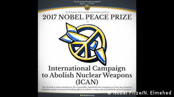 H οργάνωση ICAN έλαβε το 2017 το βραβείο Νόμπελ Ειρήνης