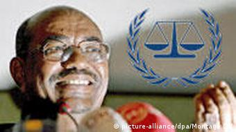 Sudan's President Omar Omar Hassan Al Bashir, lit creatively from below, with the symbol of the International Criminal Court superimposed.