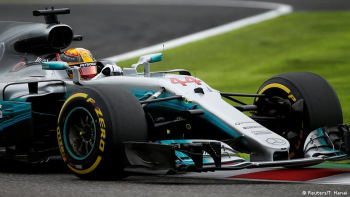 Hamilton races toward record time during qualifier in Suzuka, Japan.