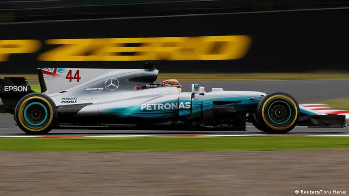 Lewis Hamilton races towards a record time during the qualifier in Suzuka