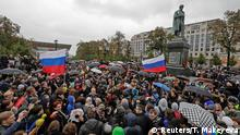 07.10.2017 +++ Supporters of Russian opposition leader Alexei Navalny attend a rally next to the monument of author Alexander Pushkin in Moscow, Russia October 7, 2017. REUTERS/Tatyana Makeyeva