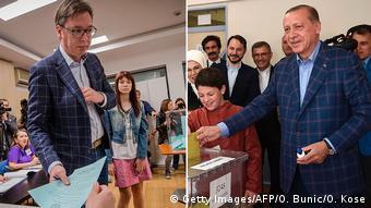 Vucic und Erdogan im Diktatorsakko (Getty Images/AFP/O. Bunic/O. Kose)