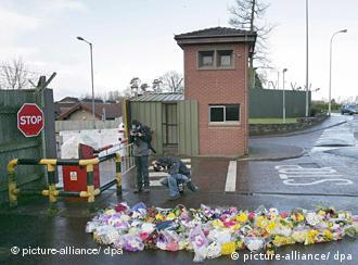 Bed of flowers at scene of killings in Northern Ireland