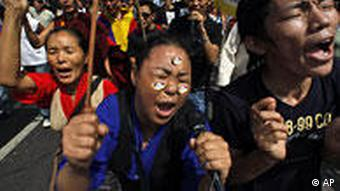 Exil- Tibeter protestieren in New Delhi gegen China (Foto:ap)
