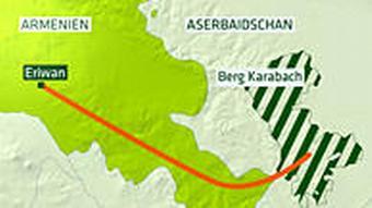 Karte Armeniens und Aserbaidschans mit der Enklave Berg-Karabach (Grafik: DW)