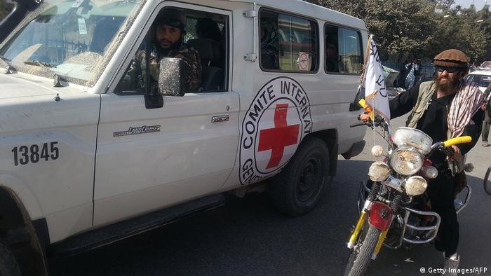 Taliban fighters are seen in an International Commitee of the Red Cross (ICRC) vehicle a day after the insurgents overran the strategic northern city of Kunduz (Getty Images/AFP)