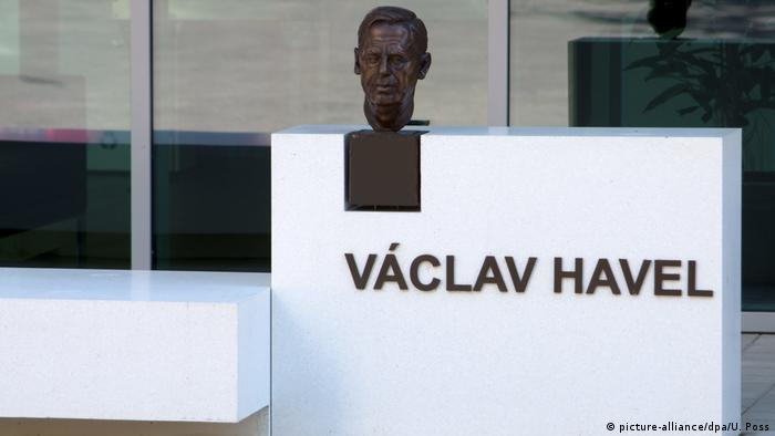 Vaclav Havel monument in front of the Council of Europe building in Strasbourg
