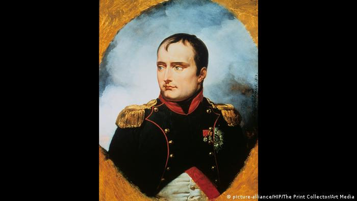 Portrait of Napoleon in military uniform wearing medals.