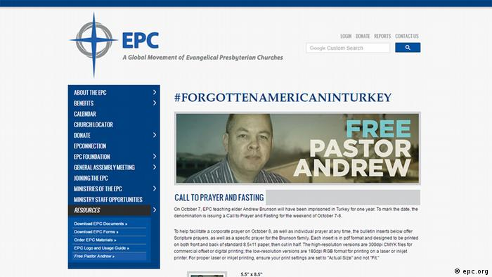Screenshot of campaign to free Pastor Andrew Brunson