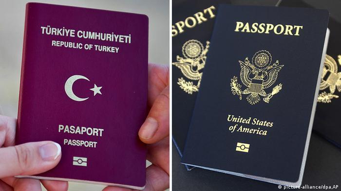 Bildkombo Türkischer und US Pass (picture-alliance/dpa,AP)
