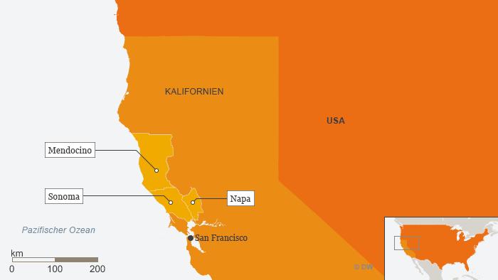 Kalifornien Karte.Tote Bei Waldbränden In Kalifornien Aktuell Amerika Dw 10 10 2017