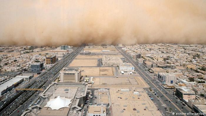 A sandstorm forms over Riyadh