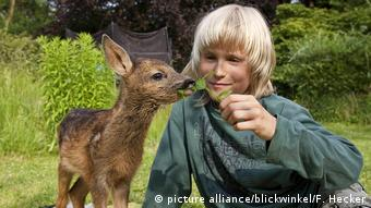Boy sitting outside holding leaf up to a fawn (picture alliance/blickwinkel/F. Hecker)