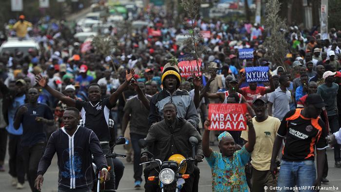Manifestantes da oposição na capital, Nairobi