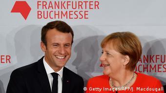 Ангела Меркель и Эмманюэль Макрон на открытии Франкфуртской книжной ярмарки