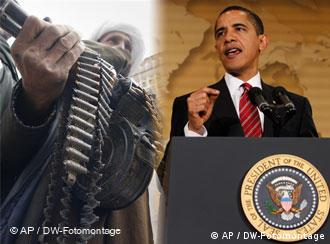 Montage: a Taliban fighter and Barack Obama
