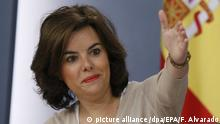 epa05607038 Spanish acting Vice Prime Minister, Soraya Saez de Santamaria during a press conference held following the Cabinet meeting at the Palace of La Moncloa, in Madrid, Spain, 28 October 2016. Spain's acting Prime Minister, Mariano Rajoy, lost the first round of Spanish Parliament's Lower House vote on 27 October, but he is expected to win a second vote on 29 October thanks to the abstention of oppositor PSOE party, meaning the end of a 10-month political blockade. EPA/Fernando Alvarado |