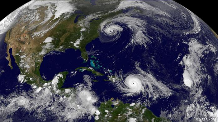 Satellitenbild Atlantik Hurricane Maria und Hurricane Jose (NASA/NOAA)