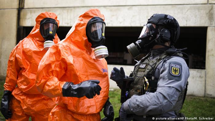 Police training exercise for a potential terrorist attack involving biological weapons in Berlin